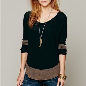 Free People black and brown bleached thermal top